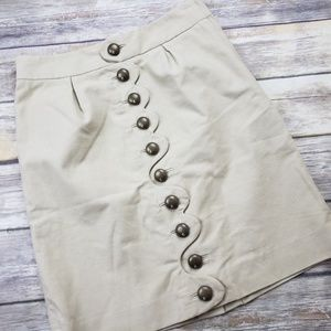 Taikonku Anthropologie Suede Button Front Skirt 0